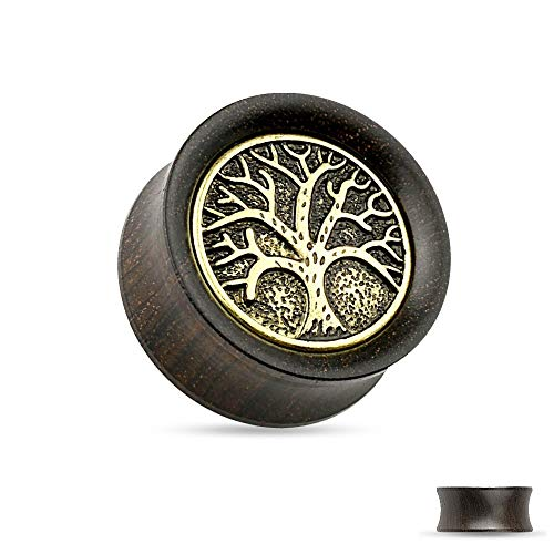 Treuheld®   8mm Lebensbaum Ohr Plug   Holz   Antik - Braun   Organic   Double Flared Ohrtunnel   hautfreundlich, atmungsaktiv & antiallergen