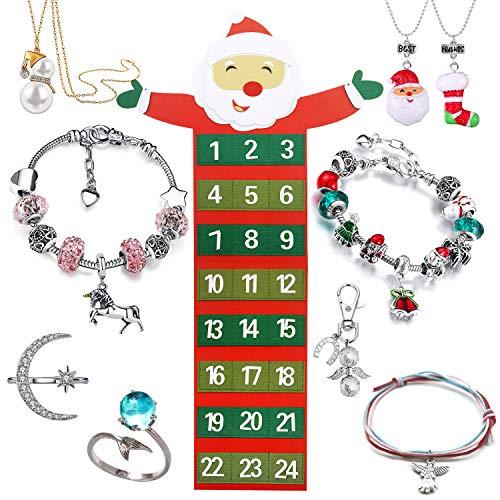 Adventskalender Santa mit 24 Schmuckteilen Einhorn Armband Kit Halskette Ringen Engel Schlüsselanhänger Weihnachtskalender für Mädchen
