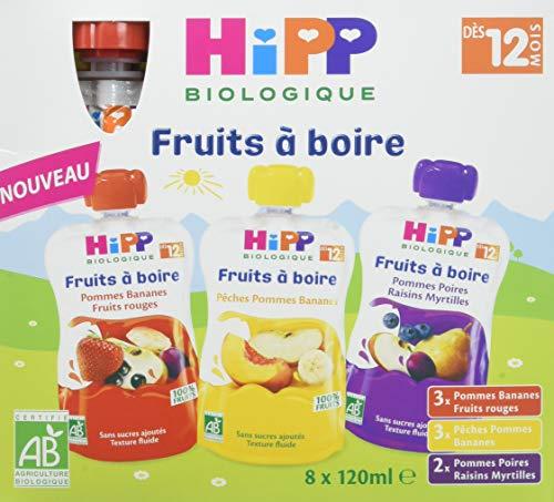 Hipp Biologique Gourdes Multipack Fruits à Boire 3 Variétés dès 12 Mois 32 Gourdes de 120 ml