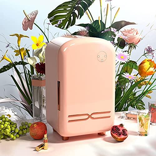 12L Skincare Fridge Beauty Fridge SEAAN Pink Mini Makeup Cosmetic Fridge Mini Cooler Refrigerator Organizer for Bedroom to Cool Down Skincare Products, AC/DC Adapter