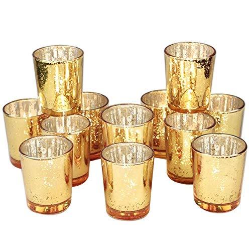 SXCYU Gold Votivkerzenhalter Bulk, Quecksilberglas Kerzenhalter 12er Set für Hochzeitsdekoration und Wohnkultur, Golden