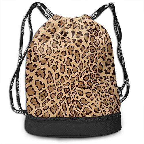 PmseK Turnbeutel Sportbeutel Kordelzug Rucksack, Leopard Print Drawstring Backpack Bags Shoulder Cinch Storage Bag for Traveling Hiking