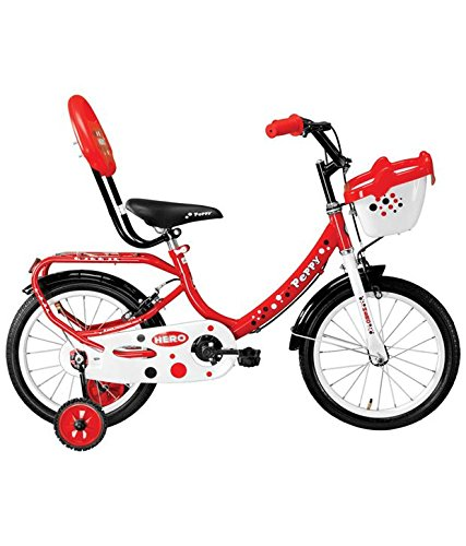 Hero Kids Peppy 16T Steel Frame Junior Bike Cycle - (Red, Frame Size: 10.2 Inches)