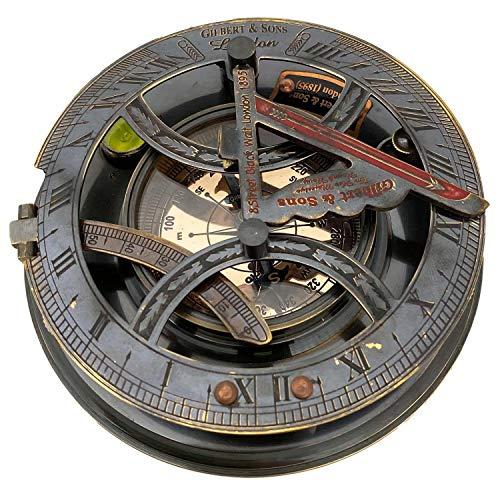 aubaho Kompass Maritim mit Sonnenuhr Dekoration Messing Glas Antik-Stil Replik 13cm (e)