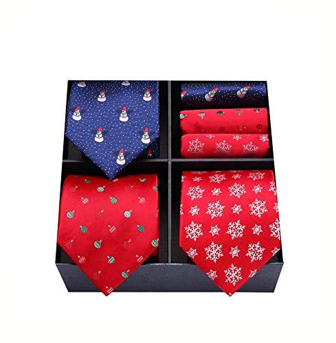 HISDERN Lot 3 PCS Men's Fun Christmas Tie Set Necktie & Pocket Square Festive Happy Santa Claus Xmas -Multiple Sets