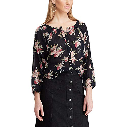 Chaps Women's Petite Floral 3/4 Raglan Sleeve Blouse, Black/Rose, PXL