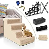 Topmart Dog Stairs&Steps for Small Dogs & Cats,Non-Slip 4 Tiers Plastic Dog Ramp/Ladder, Best for Small Animals,Doggy,Kitty