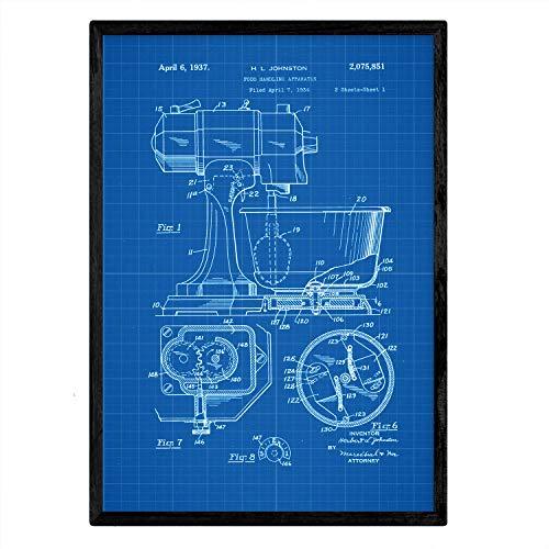 Poster Nacnic patenten industriële mixer. Blad met oud ontwerp patent A3-formaat met blauwe achtergrond