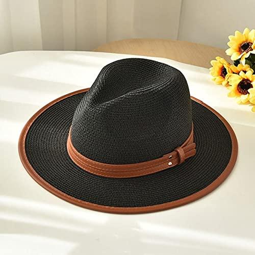 Nuevo Sombrero de Playa de Verano para Mujer, Sombrero Informal de Lado Ancho para Mujer, Sombrero de Paja con Lazo Plano clásico para Mujer, Fedora-black-56-58cm