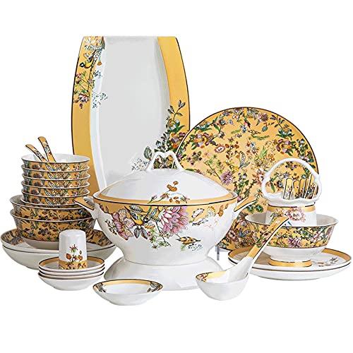 HCFSUK Juego de Cena de cerámica, 52 Piezas Juego de vajilla de Porcelana de Hueso Olla, Plato, Cuenco Juego de combinación de Porcelana Regalo de Boda de Alta Gama para inauguración de la casa