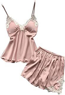 ALLYOUNG Womens Sexy Satin Sling Sleepwear Lingerie Lace Nightwear Comfortable Underwear Set