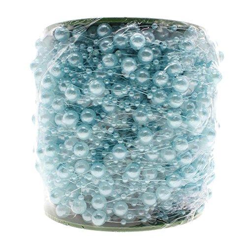 VANKER 75M Fil de Pêche Perle Artificielle Chaîne Guirlande Fleurs Mariage Décor(Bleu)