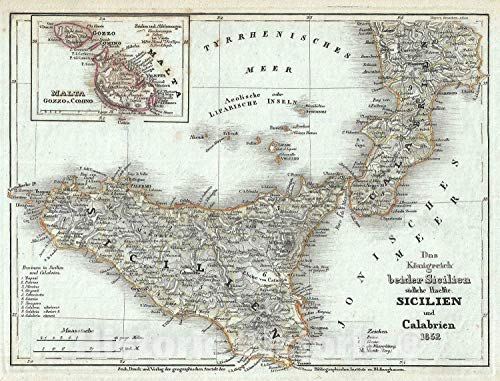 Historic Map : Southern Italy Sicily and Southern Naples, Meyer, 1852, Vintage Wall Décor : 30in x 24in
