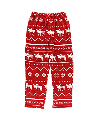 Lazy One Men's Fleece Pajama Pants, Nordic Pajama Bottoms for Men, Winter (Nordic Moose, Small)