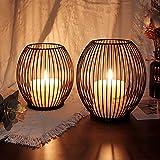 Kerzenständer 2er Set, Kerzenhalter Schwarz Oval Metall Kerzenleuchter für Wohnzimmer Schlafzimmer Vintage Deko, Hochzeit Bankett Windlicht Kerzenleuchter 14 *15.5 / 16 * 18cm