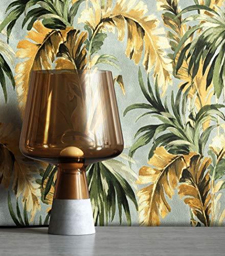 NEWROOM Tapete Modern Dschungel Palmen grün Vliestapete grau Vlies moderne Mustertapete Tapete Blumentapete Wallpaper Floral inkl. Tapezier Ratgeber