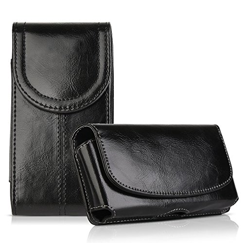 2 Pack Belt Holster for iPhone 8 Plus iPhone 11 Pro Max, kiwitatá Horizontal/Vertical Crazy Horse Premium Leather Belt Clip/Loop Carrying Cover Case for iPhone 7 Plus 6S Plus XS max S10 S9