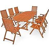 Deuba Conjunto de jardín Moreno Juego de una Mesa y 8 sillas Set de Madera de Acacia sillas Plegables Exterior FSC