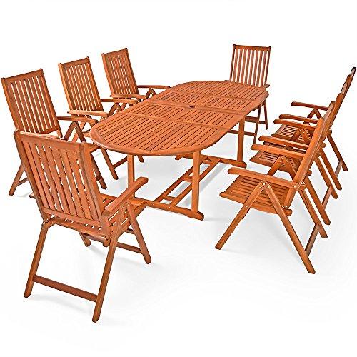 Deuba Conjunto de jardín 'Moreno' juego de una mesa y 8 sillas set de madera de Acacia sillas plegables exterior FSC