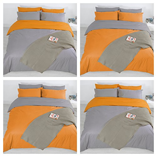 Adam Home 4PCS Complete Reversible Duvet Cover & Fitted Sheet Soft Micro Fiber Bedding Sets by TTO (Orange Grey, King)