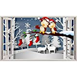 Pegatinas de pared Invierno Navidad Búho Dormitorio infantil 3D Habitación infantil Pegatinas de vinilo Sala de estar