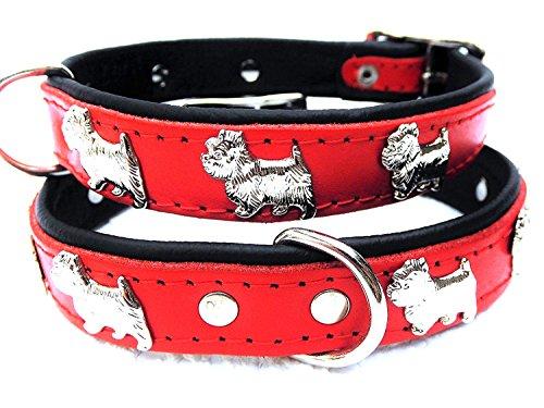 Lusy011 *Westie* Hunde Halsband, Leder, Halsumfang 30-35cm, ROT, NEU(PL.24-5-3-48)