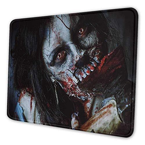 Zombie Custom Mouse Pad Gruselige tote Frau mit einer blutigen Axt Evil Fantasy Gothic Mystery Halloween Bild rutschfeste Mauspad Multicolor