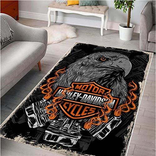 Haiqings Harley Davidson Rutschfester Teppich Computerstuhl Matte Bodenmatte Schlafzimmer Nachtteppich Spielzimmer Wohnkultur 100x160cm