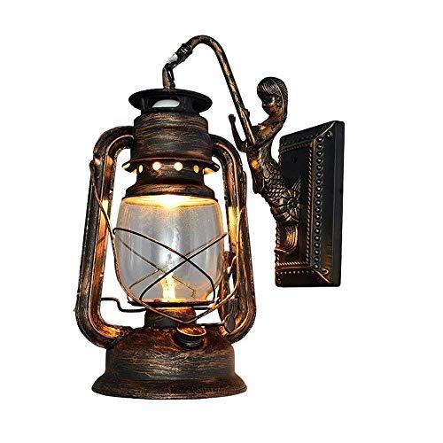 Wandleuchter Vintage Rustikal Klassische Industrie Wandlampe Schmiedeeisen Laterne 1×E27 220V Retro Metall Kreative Lampe Wandlicht Wegeleuchten Nacht (Retro rot)