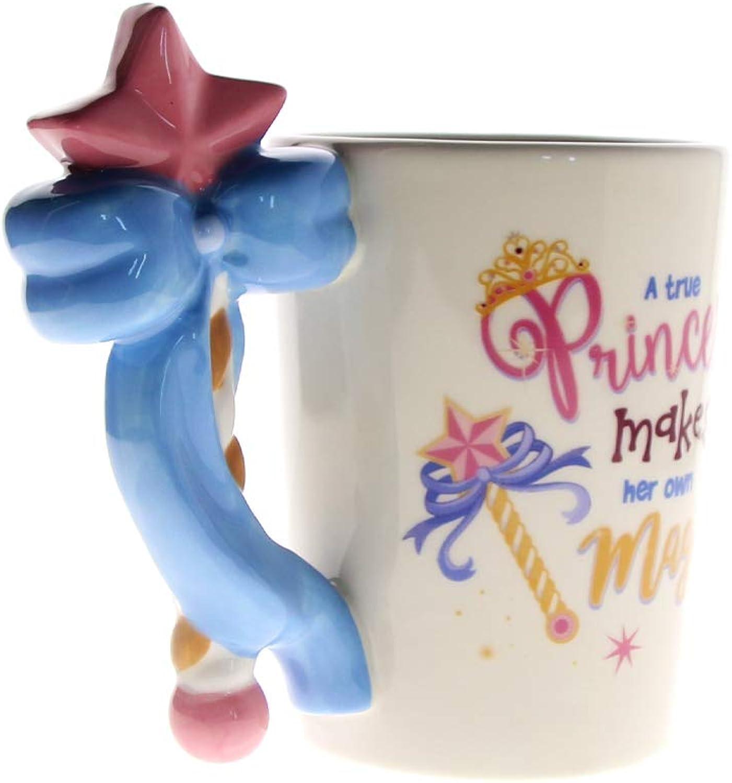 XTSHOP Mugs 1 pièce Princesse Tasse fée Princesse sacuette Magique poignée Tasse Tasse de café en céramique Tasse de thé Filles Cadeau d'anniversaire