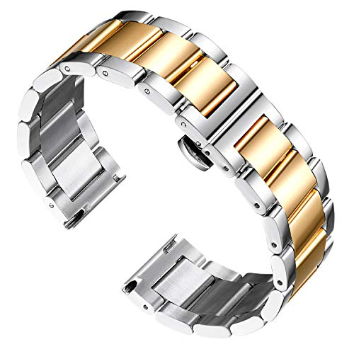 BINLUN Stainless Steel Watch Band Replacement Metal Watch Strap Polished Matte Brushed Finish Solid Bracelets for Men Women's Watch 16mm/18mm/20mm/21mm/22mm/23mm/24mm/26mm with Butterfly Buckle