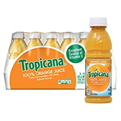 Contains twenty four (24) 10 ounces bottles of Tropicana Orange Juice Tropicana 100 percent Orange Juice is the perfect beverage to pack in lunches or drink on the go Add Tropicana Orange Juice to your daily routine for a delicious and convenient sou...