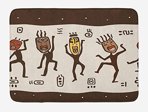 Primitieve badmat, Cartoon dansen inboorlingen het dragen van Afrikaanse maskers Prehistorische Rituals, Pluche Badkamer Decor Mat met Niet Slip Backing, 23,6 x 15,7 Inch, Leger Groen Beige Geel