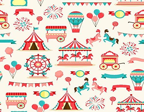 DIY Pintar por Números para Niños Y Principiante Y Adultos,Caballos Patrón Circo Rosa Carnaval Vintage Carpa Rueda Carrusel Rojo Carpa Fe,Regalo Pintura al óleo Conjunto de Kit Lienzo Decor,20' x 16'
