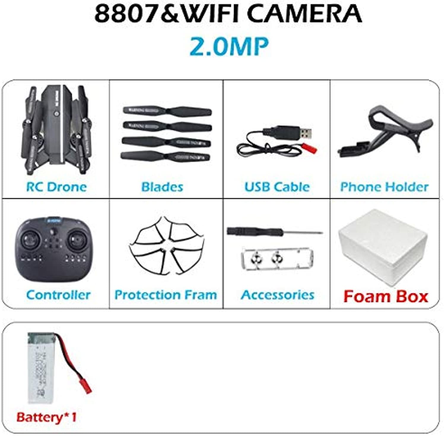 Generic 8807 8807W RC Drone Foldable Helicopter FPV WiFi RC Quadcopter 2.4GHz Remote Control Dron with HD Camera VS S20 2.0MP 1BAT
