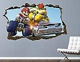 Liuxz Etiqueta de la Pared Bowser Battle Wall Decal Custom Smashed 3D Game calcomanía Pegatina Vinilo