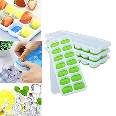 4 PCS DIY Silicone Molds, Silicone Ice Tray wit...