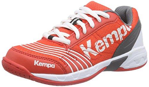 Kempa Unisex-Kinder STATEMENT ATTACK JUNIOR Handballschuhe, Mehrfarbig (fire red/grau/weiß), 28