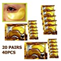 20 Pair Crystal Collagen 24k Gold Under Eye Gel Pad Face Mask Wrinkle Anti Ageing Wrinkle Premium Crystal Gold EYE Mask Crystal Bi Moisturiser for Under Eye Wrinkles,