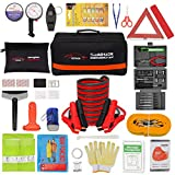 Vetoos Roadside Emergency Car Kit with Jumper Cables, Auto Vehicle Safety Road Side Assistance Kits, Winter Car Kit for Women and Men, with Mini Car Tool Set, Dial Tire Pressure Gauge