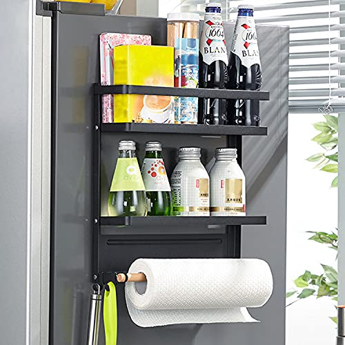 Topotter Magnetic Spice Rack , Magnetic Paper Towel Holder Kitchen with 2-Tier Magnetic Shelf and 1 Paper Towel Roll Holders for Magnetic Spice Rack for Refrigerator (Medium-Black)
