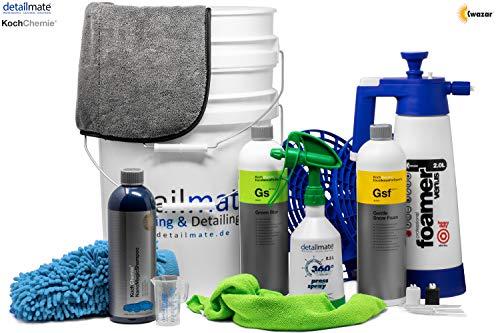 Detailmate 2 Eimer Wasch Set: 2x Grit Guard Eimer + 2x Einsatz + Kwazar Foamer 2L + Koch Chemie GSF 1L + Nano Magic Shampoo 750ml + GS 1L + Sprühflasche + Waschhandschuh + Mikrofasertuch + Trockentuch