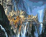 FGYHJ DIY Punto de Cruz Digital Setdiamante Kits de Pintura para Adultos Rhinestone Cascada del Castillo de Ciencia ficciónpunto de Cruz decoración de Pared -No Frame-30x40cm