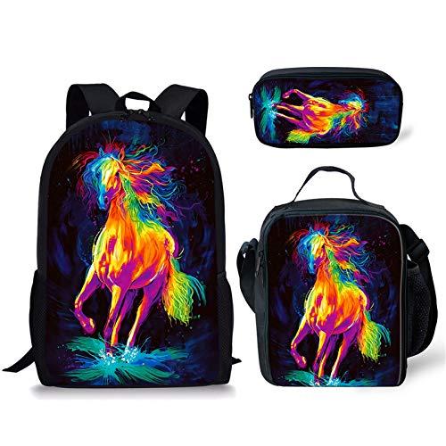 Sapotip Cool Horse Painting Mochila Set Boy Girl School Bolsas para Adolescentes Pequeño Tote Hombro Almuerzo Cremallera Estuche 3 unids/Set