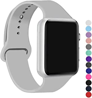 ic6Space Apple Watch Band, Premium Soft Silicone Sports Replacement Strap for Apple Watch Series 3 Series 2 Series 1,38mm or 42mm(Clouds Gray, 38mm-s/m)