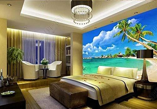 Papel Pintado 3D Decoración Murales Playa Playa Cielo Azul Tv Fondo Decoración De Pared Pintura-200Cmx140Cm