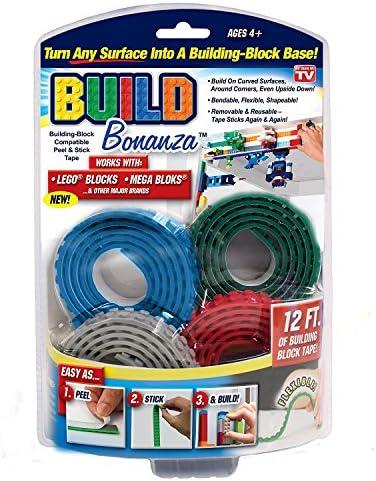 Build Bonanza BZ2M1 MC12 6 Self Adhesive Tape Works Building Block Tape Blue Red Grey Green product image