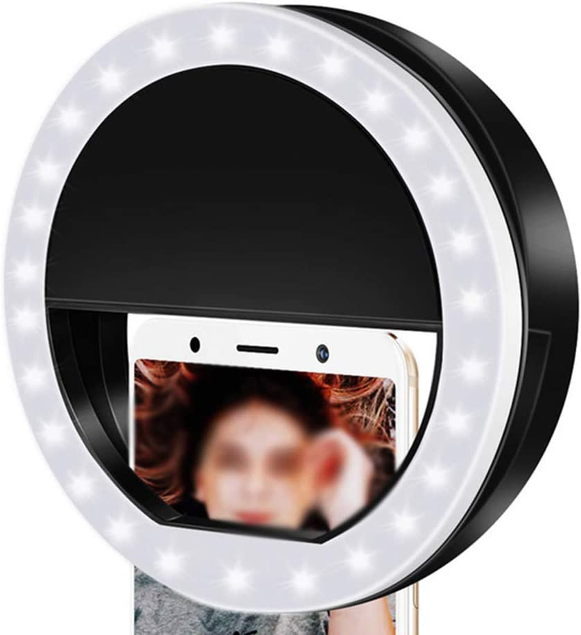 JCXBW Ring Lights LED Circle Light Cell Phone Laptop Camera Photography Video Lighting Clip on Rechargeable Photo Lamp Night Light,Pink