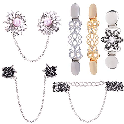 LOCOLO Vintage Sweater Shawl Clips Cardigan Collar Clips Flowers Patterns for Women Girls (6) Gold, Silver