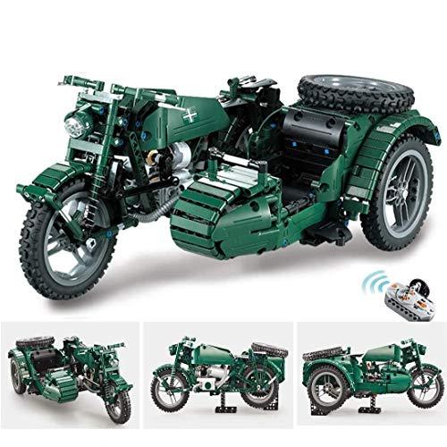 ZKK Blocchi di Costruzione del Modello di Motocicletta Technic, 629 Parti 2.4G RC WW2 Giocattoli di Costruzione per Motocicli Militari Telecomandati, Compatibili con Lego-Technic